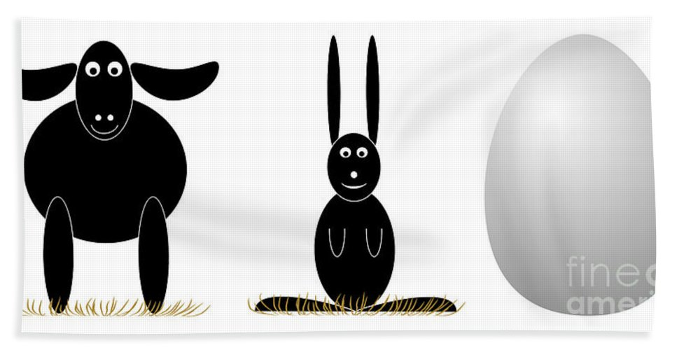 Easter Beach Towel featuring the digital art Easter Elements by Michal Boubin