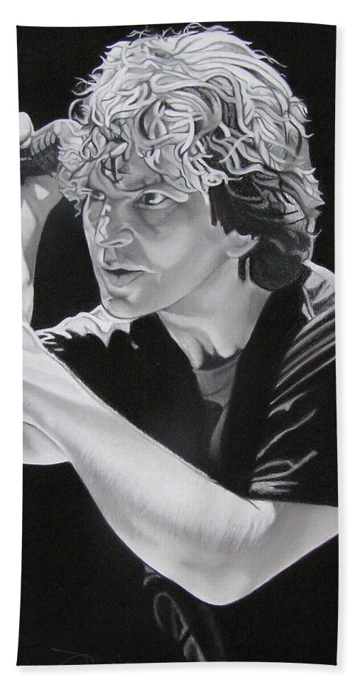 Eddie Vedder Beach Towel featuring the drawing Eddie Vedder Black And White by Joshua Morton