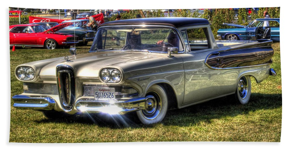 Car Beach Towel featuring the photograph Edsel Ranchero by Bill Gallagher