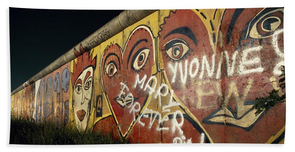 Berlin Wall Beach Towel featuring the photograph Berlin Wall Hearts by Shaun Higson