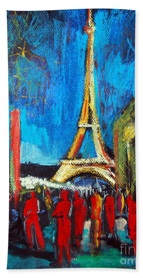 Eiffel Tower And The Red Visitors Beach Towel featuring the painting Eiffel Tower And The Red Visitors by Mona Edulesco