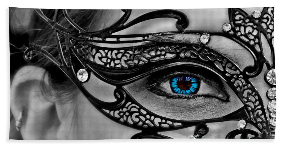 Mysterious Beach Towel featuring the photograph Elegant Mask by Tom Gari Gallery-Three-Photography