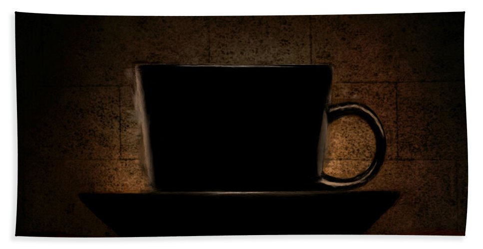 Coffee Beach Towel featuring the digital art Elegantly Black by Lourry Legarde