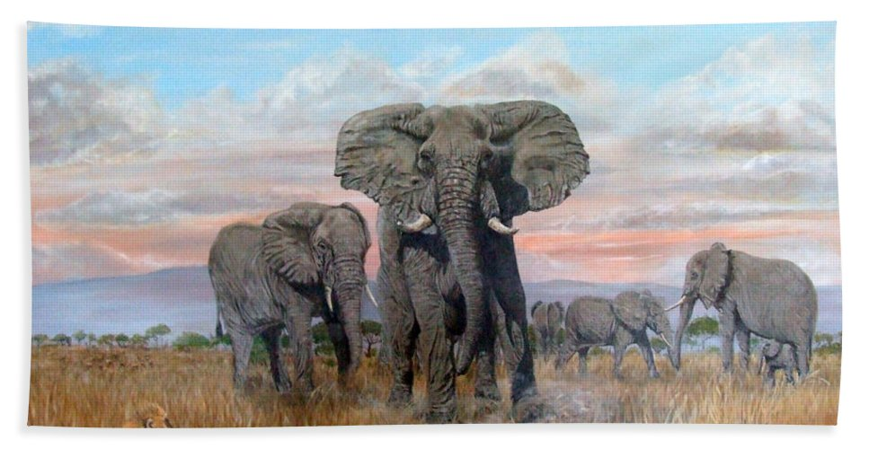 Africa Beach Towel featuring the painting Elephants Warning To The Lions by Mackenzie Moulton