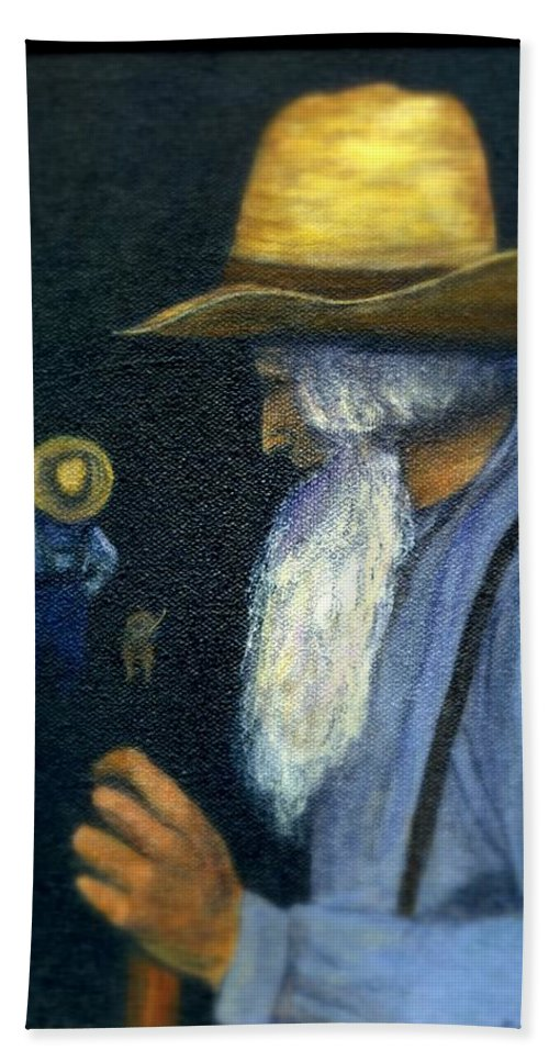Men Beach Sheet featuring the painting Eli Remembers by Gail Kirtz
