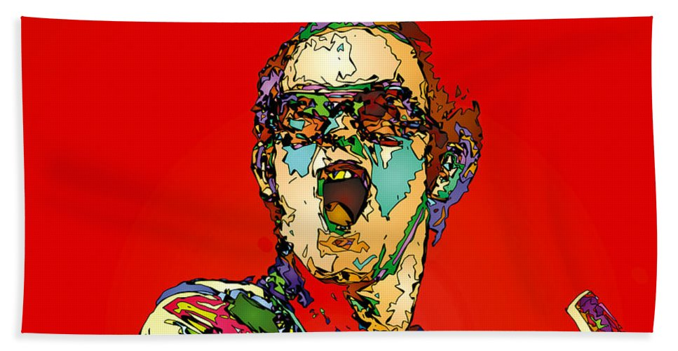 Elton John Beach Towel featuring the painting Elton in Red by John Farr