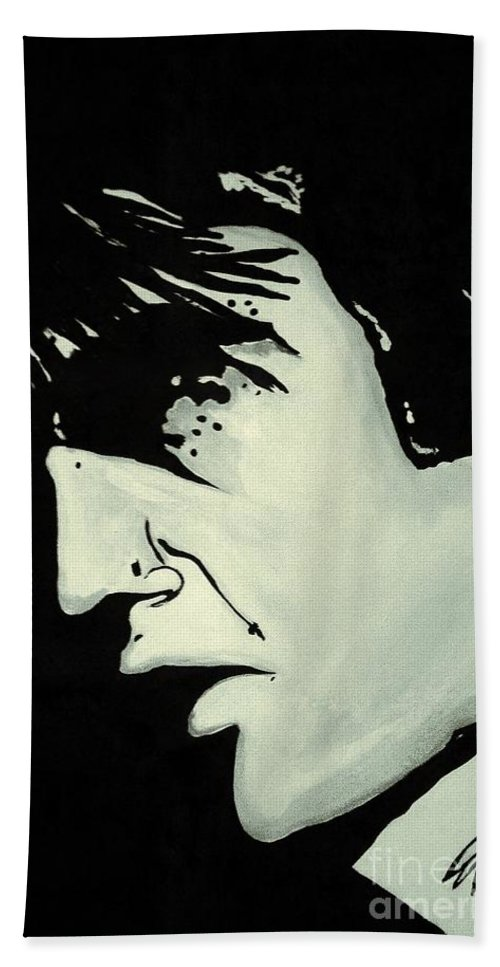 Elvis The King Rock And Roll Music Icon Black And White Song Dance Twisting Voice Love Me Tender Nothin But A Hound Dog Graceland Priscilla Beach Towel featuring the painting Elvis.   The King by Saundra Myles