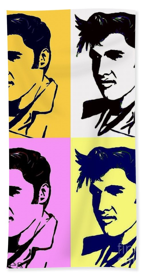 Elvis Beach Towel featuring the painting Elvis Pop X Four by Saundra Myles