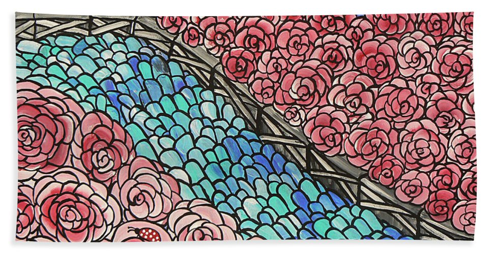 Emerald River Roses Beach Towel featuring the painting Emerald River Roses by Barbara St Jean