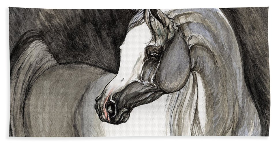Grey Horse Beach Towel featuring the painting Emerging From The Darkness by Angel Ciesniarska