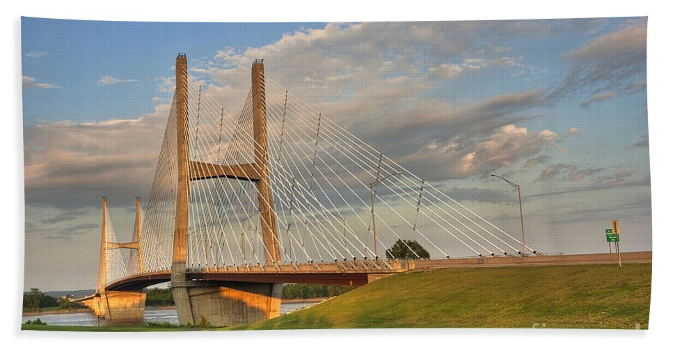 2009 Beach Towel featuring the photograph Emerson Bridge by Larry Braun