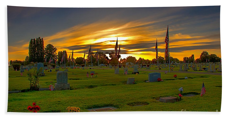 Gem County Beach Towel featuring the photograph Emmett Cemetery by Robert Bales