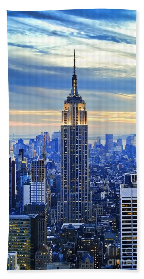 New York City Beach Towel featuring the photograph Empire State Building New York City USA by Sabine Jacobs