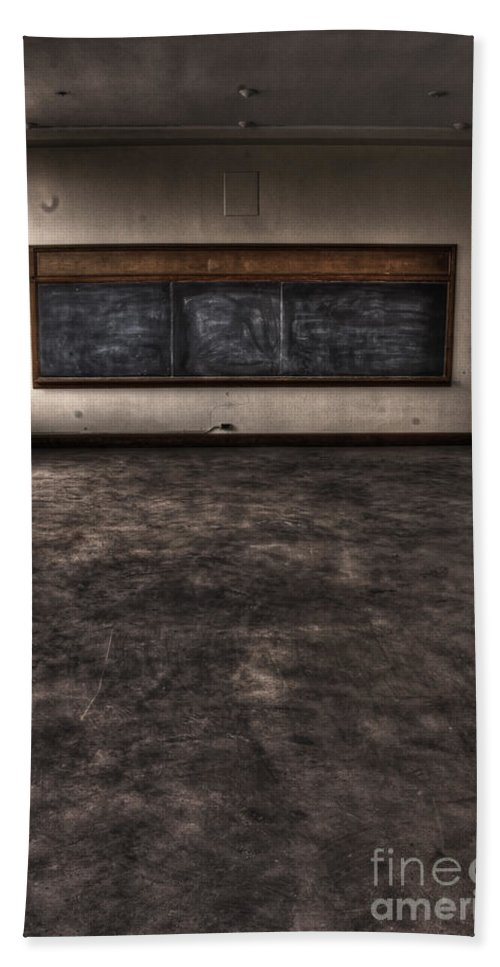 Chalkboard; Old; Grunge; Dirty; Wall; Cement; Damaged; Bare; Ledge; Classroom; Class; School; Education; University; Eerie; Mystery; Spooky; Empty; Abandoned; Shadows; Large; Expanse; Wood; Floor; Ceiling; Interior; Inside; Indoors Beach Towel featuring the photograph Empty Minds by Margie Hurwich