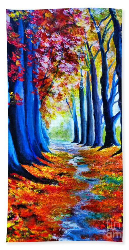 Enchanted Forest Beach Towel featuring the painting Enchanted Forest by Ryszard Sleczka
