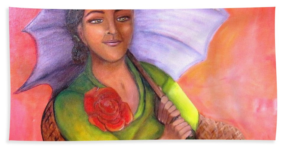 Rose Beach Sheet featuring the painting Enchanted Rose by Laurie Morgan