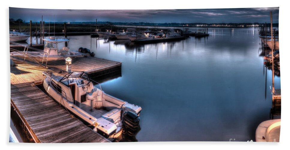Dock Beach Towel featuring the photograph End Of The Day by Aaron Shortt