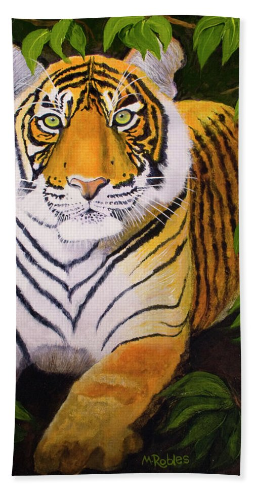 Acrylic Beach Towel featuring the painting Endangered Bengal Tiger by Mike Robles