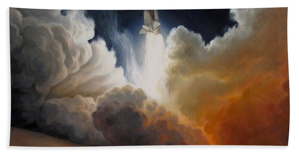Space Shuttle Endeavour Launch Beach Towel featuring the painting Endeavour by Lucy West