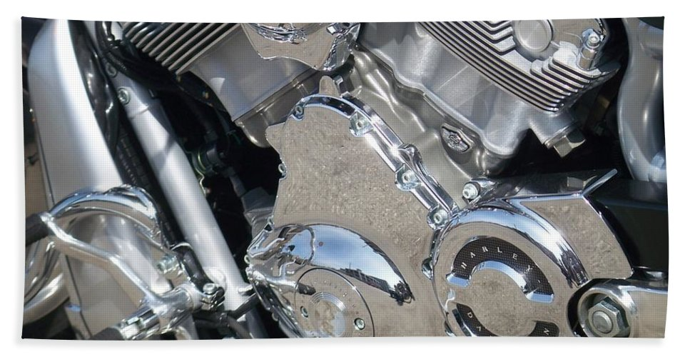 Motorcycles Beach Sheet featuring the photograph Engine Close-up 3 by Anita Burgermeister