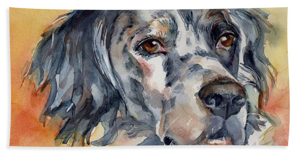 English Setter Beach Towel featuring the painting English Setter Portrait by Maria's Watercolor