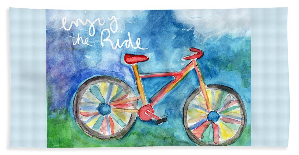 Bike Beach Towel featuring the painting Enjoy The Ride- Colorful Bike Painting by Linda Woods