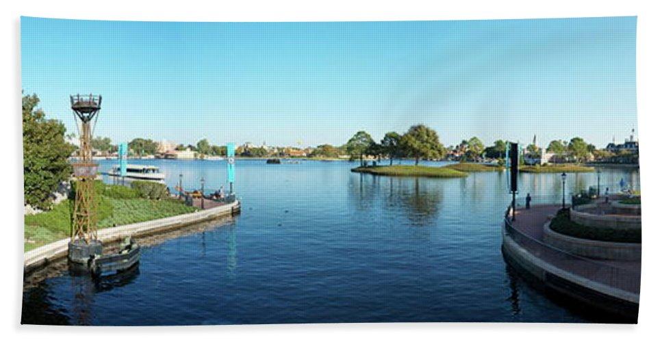 Panorama Beach Towel featuring the photograph Epcot World Showcase Lagoon Panorama 05 Walt Disney World by Thomas Woolworth