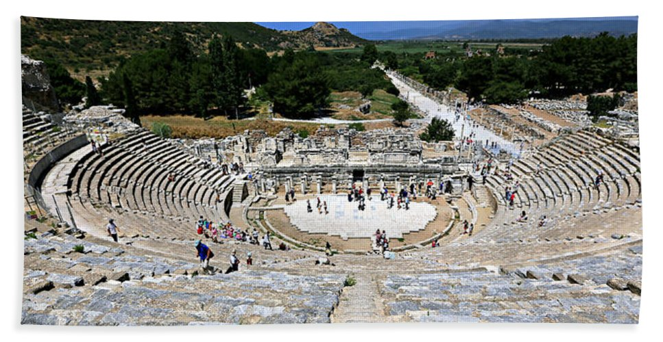 Acts Beach Towel featuring the photograph Theater Of Ephesus by Stephen Stookey