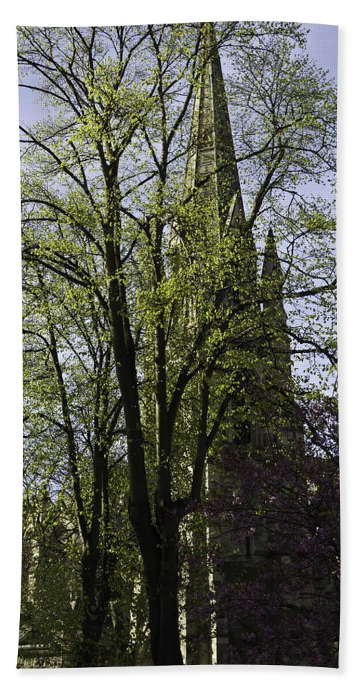 Action Beach Towel featuring the photograph Episcopal Cathedral In Edinburgh Visible Through Trees by Ashish Agarwal