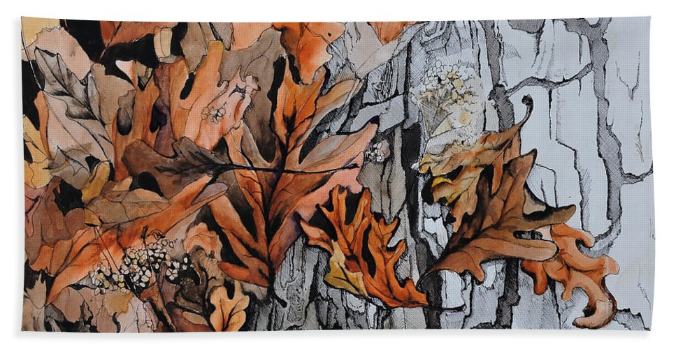 Abstract Beach Towel featuring the painting Eruption I by Rachel Christine Nowicki