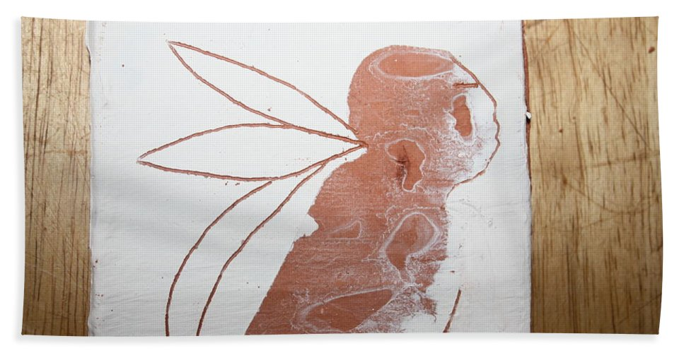 Jesus Beach Towel featuring the ceramic art Esau - Tile by Gloria Ssali