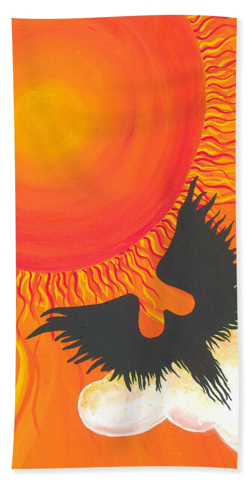 Escape To Paradise Beach Towel featuring the painting Escape To Paradise by Catt Kyriacou