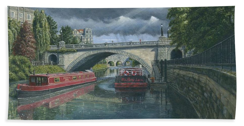 Landscape Beach Towel featuring the painting Escaping The Storm North Parade Bridge Bath by Richard Harpum