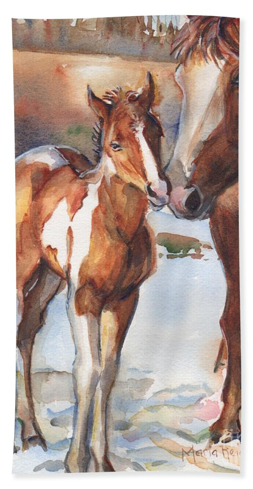 Horse Beach Towel featuring the painting horse painting in watercolor Eskimo Kisses by Maria Reichert