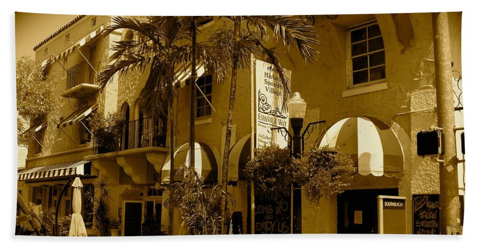 Espanola Way Miami Print Beach Towel featuring the photograph Espanola Way In Miami South Beach by Monique's Fine Art