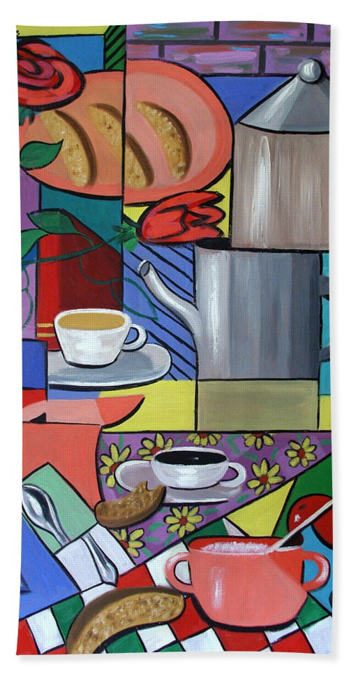 Espresso Coffee Beach Towel featuring the painting Espresso by Anthony Falbo