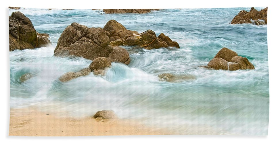 Waves Beach Towel featuring the photograph Eternal Waves At Asilomar Beach In Monterey Bay. by Jamie Pham