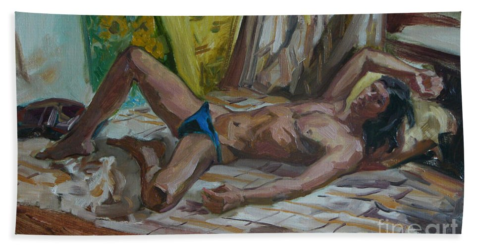 Man Beach Sheet featuring the painting Etude 48 by Sergey Sovkov