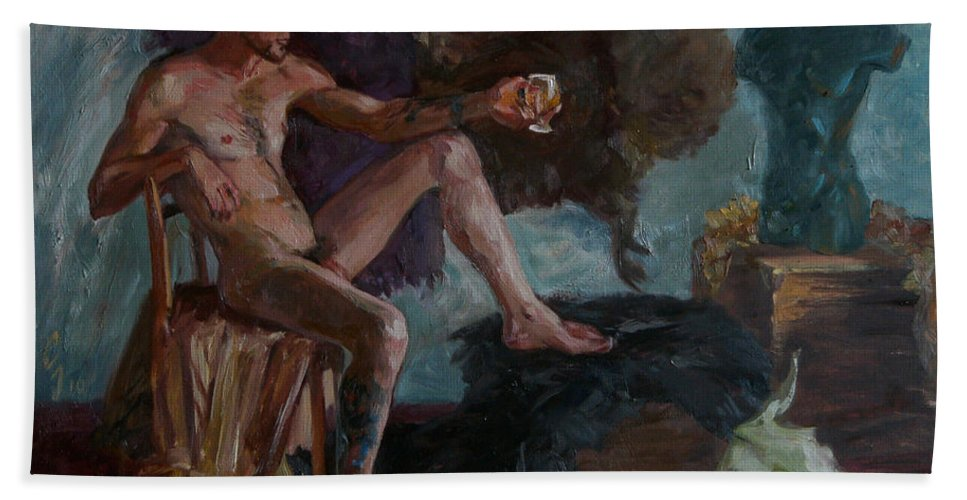 Man Beach Sheet featuring the painting Etude 51 by Sergey Sovkov