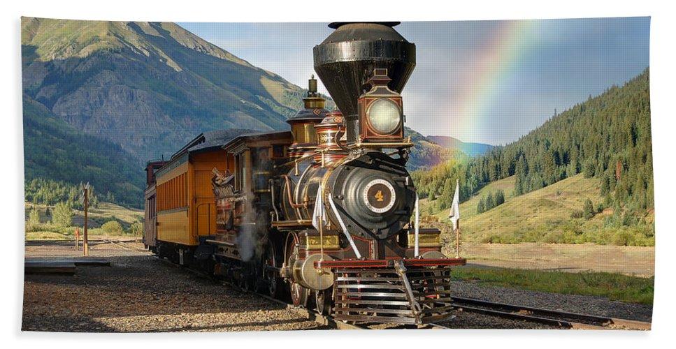 Steam Train Photographs Photographs Photographs Beach Towel featuring the photograph Eureka Rainbow by Ken Smith