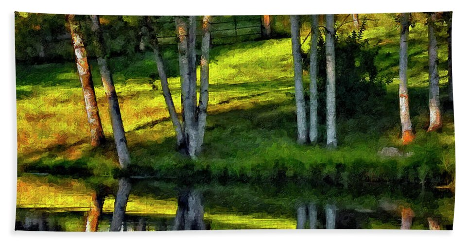Evening Beach Towel featuring the photograph Evening Birches Painted by Steve Harrington