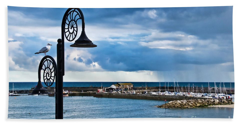 Evening Beach Towel featuring the photograph Evening Calm At Lyme Regis by Susie Peek