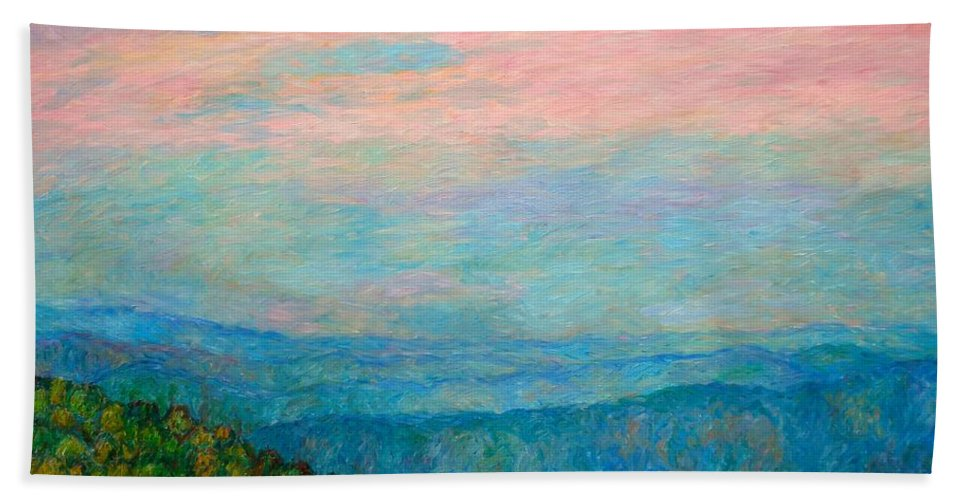 Mountain Beach Towel featuring the painting Evening Glow At Rock Castle Gorge by Kendall Kessler