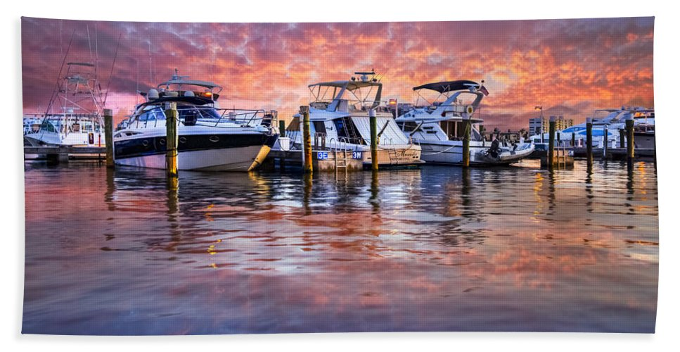 Boats Beach Towel featuring the photograph Evening Harbor by Debra and Dave Vanderlaan