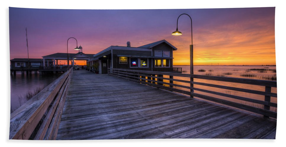 Clouds Beach Towel featuring the photograph Evening Lights by Debra and Dave Vanderlaan