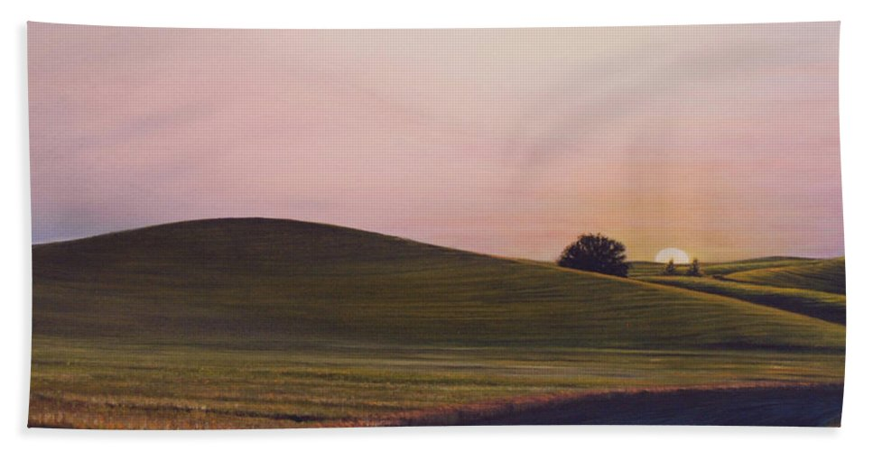 Wheat Beach Towel featuring the painting Evening near Viola by Leonard Heid
