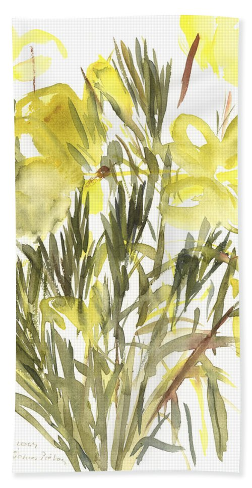 Primrose Beach Towel featuring the painting Evening Primroses by Claudia Hutchins-Puechavy