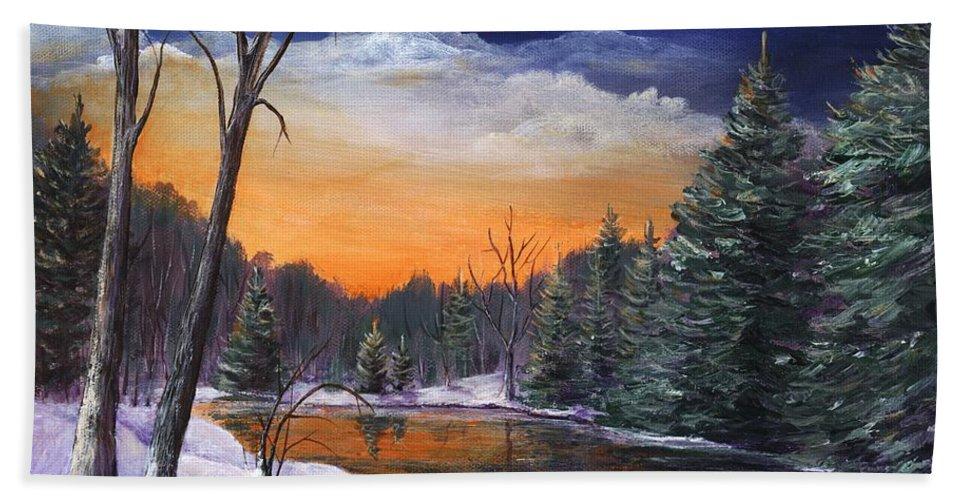 Interior Beach Towel featuring the painting Evening Reflection by Anastasiya Malakhova