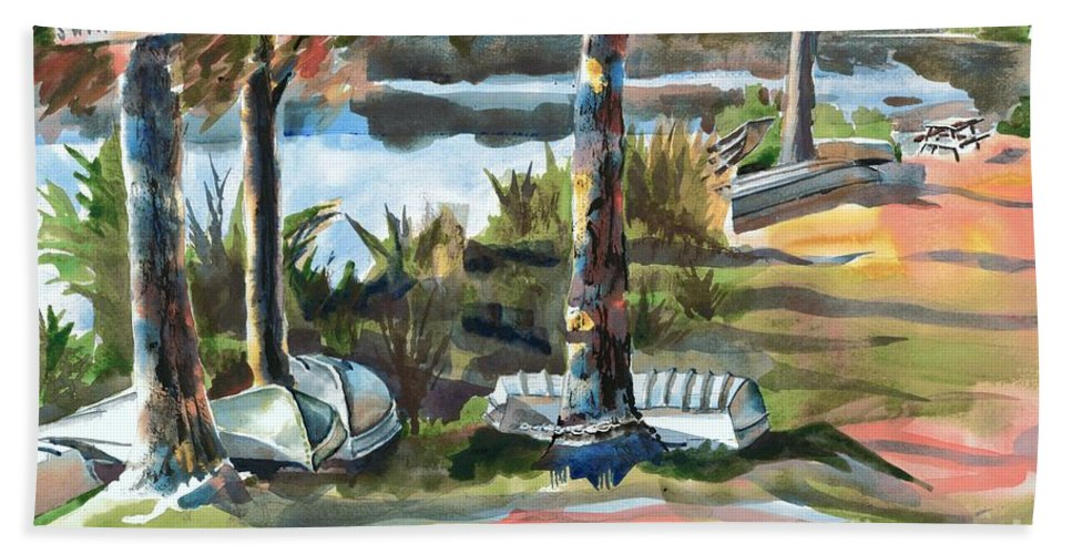 Evening Shadows At Shepherd Mountain Lake No W101 Beach Towel featuring the painting Evening Shadows At Shepherd Mountain Lake No W101 by Kip DeVore