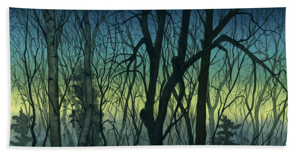 Blue Beach Towel featuring the painting Evening Stand by Mary Tuomi